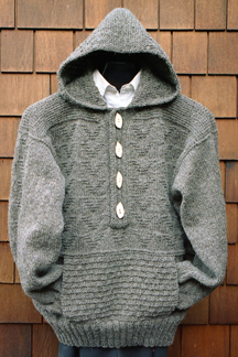 Hoodied  Placket Pullover
